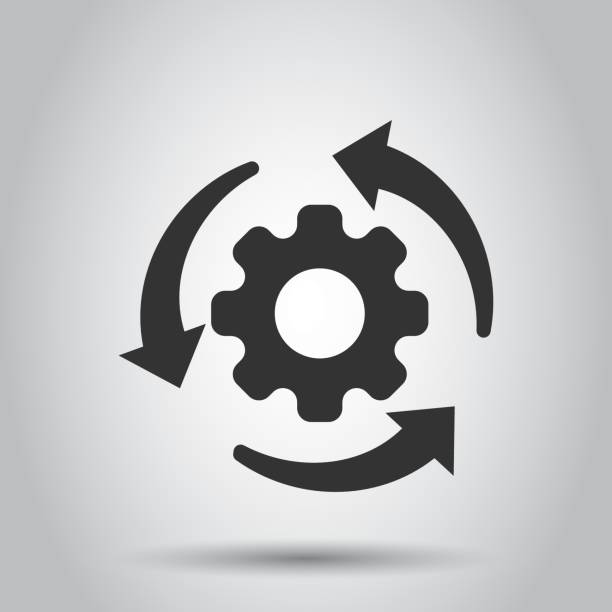 Workflow process icon in flat style. Gear cog wheel with arrows vector illustration on white background. Workflow business concept. Workflow process icon in flat style. Gear cog wheel with arrows vector illustration on white background. Workflow business concept. aerodynamic stock illustrations