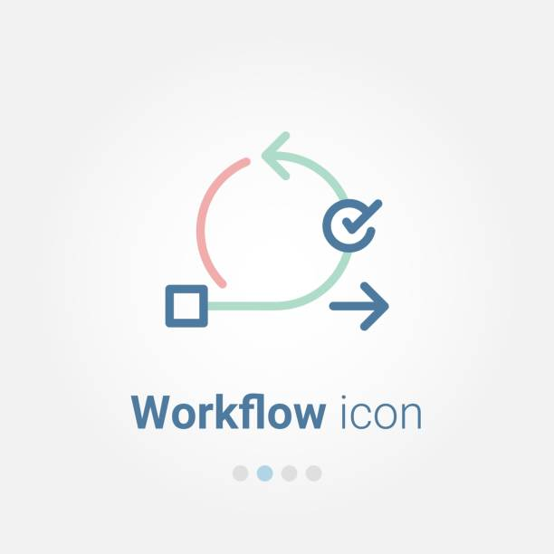 Workflow vector icon Workflow vector icon samenwerking stock illustrations