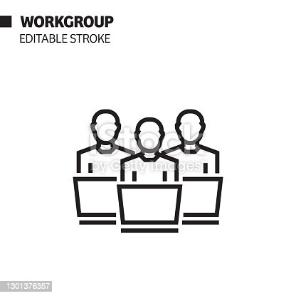 Workgroup Line Icon, Outline Vector Symbol Illustration.
