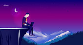 Business, work loneliness and solitude concept. Vector illustration.