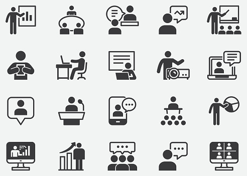 Working and Business Presentation Pixel Perfect Icons
