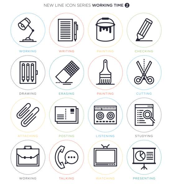 Working and Studying Icon Set vector art illustration
