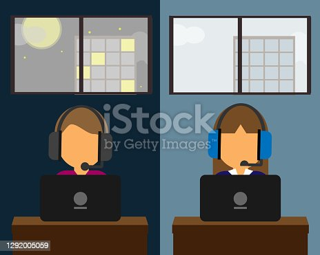 istock working as a call center in day shift and night shift vector 1292005059