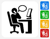 Working at Desk Icon. This 100% royalty free vector illustration features the main icon pictured in black inside a white square. The alternative color options in blue, green, yellow and red are on the right of the icon and are arranged in a vertical column.