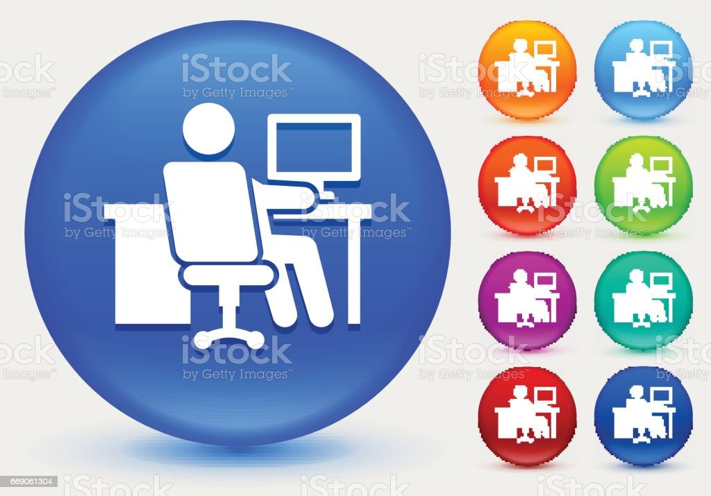 Working At Desk Icon On Shiny Color Circle Buttons Stock