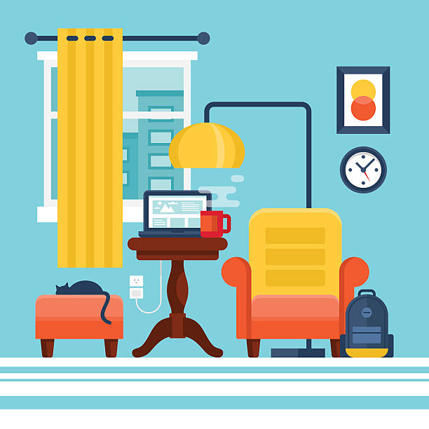 working at home and freelance concept. flat modern stylish room - telecommuting stock illustrations, clip art, cartoons, & icons