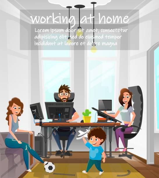 bildbanksillustrationer, clip art samt tecknat material och ikoner med arbeta hemma cartoon family frilansarbete - arbeta köksbord man