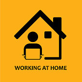 Vector icon of Work from home with lettering.