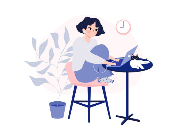 ilustrações de stock, clip art, desenhos animados e ícones de working at home, coworking space and home office concept. freelancer women working at home with pet, laptop and plant. remote job. online shopping. e-learning. girl student - remote work