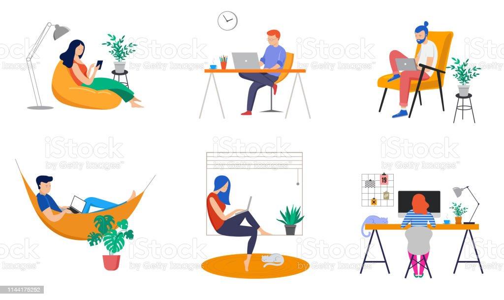Arbeiten zu Hause, Coworking Space, Concept Illustration. Jugendliche, Mann und Frau Freiberufler arbeiten zu Hause. Vector Flachstil-Illustration - Lizenzfrei Arbeiten Vektorgrafik