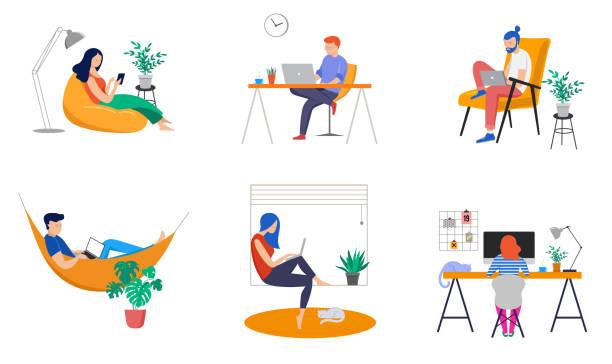 ilustrações, clipart, desenhos animados e ícones de trabalho em casa, espaço de coworking, ilustração do conceito. jovens, freelancers do homem e da mulher que trabalham em casa. ilustração lisa do estilo do vetor - work
