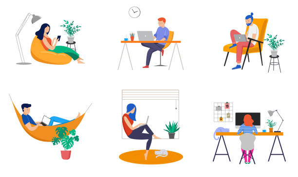 working at home, coworking space, concept illustration. young people, man and woman freelancers working at home. vector flat style illustration - working from home stock illustrations