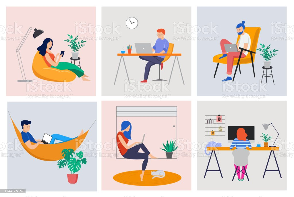 Working at home, coworking space, concept illustration. Young people, man and woman freelancers working at home. Vector flat style illustration - Grafika wektorowa royalty-free (Biurko)