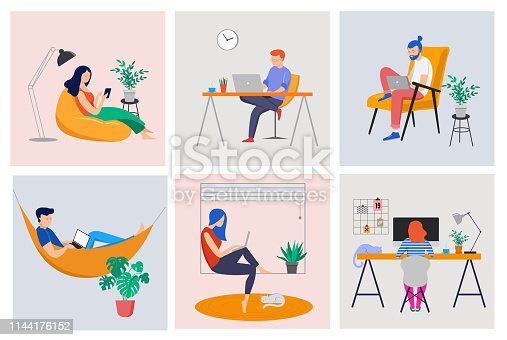 Working at home, coworking space, concept illustration. Young people, man and woman freelancers working on laptops and computers at home. Vector flat style illustration