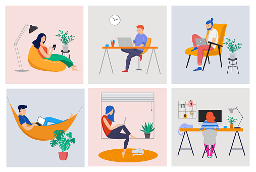 Working at home, coworking space, concept illustration. Young people, man and woman freelancers working at home. Vector flat style illustration clipart