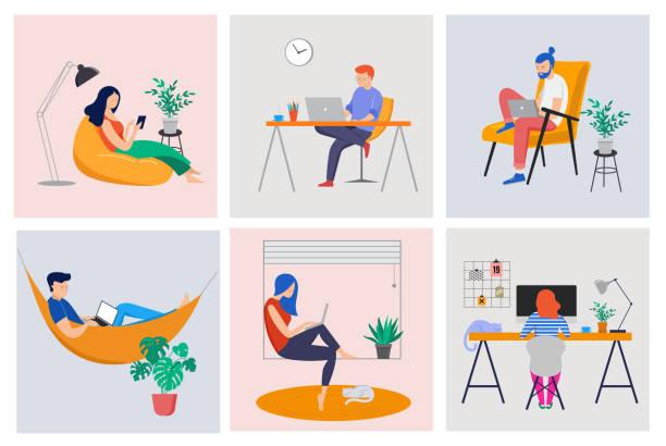 praca w domu, przestrzeń coworkingowa, ilustracja koncepcyjna. młodzi ludzie, mężczyźni i kobiety freelancerzy pracujący w domu. wektor płaski styl ilustracji - indie stock illustrations