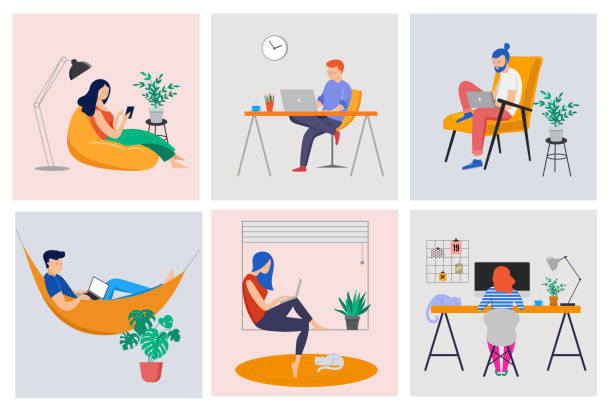 illustrazioni stock, clip art, cartoni animati e icone di tendenza di working at home, coworking space, concept illustration. young people, man and woman freelancers working at home. vector flat style illustration - lavoro
