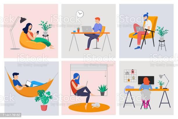 在宅勤務コワーキングスペースコンセプトイラスト若い人男と女のフリーランサーは自宅で働いていますベクトルフラットスタイルイラストレーション - ひらめきのベクターアート素材や画像を多数ご用意
