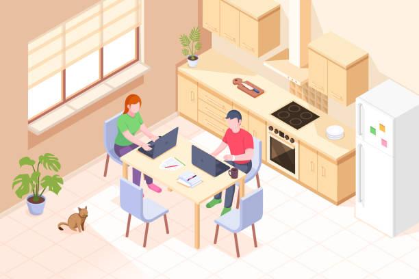bildbanksillustrationer, clip art samt tecknat material och ikoner med arbeta hemma, frilansare online kontor, par man och kvinna med bärbara datorer i köket, vektor isometriska illustration. online hemarbete, distansanställd verksamhet, frilansjobb och utbildning koncept - arbeta köksbord man