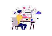istock Working at home vector flat style illustration. Online career. Coworking space illustration. Young woman freelancers working on laptop or computer at home. Developer at home in quarantine. 1241710244