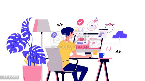 istock Working at home vector flat style illustration. Online career. Coworking space illustration. Young woman freelancers working on laptop or computer at home. Developer at home in quarantine 1241710721