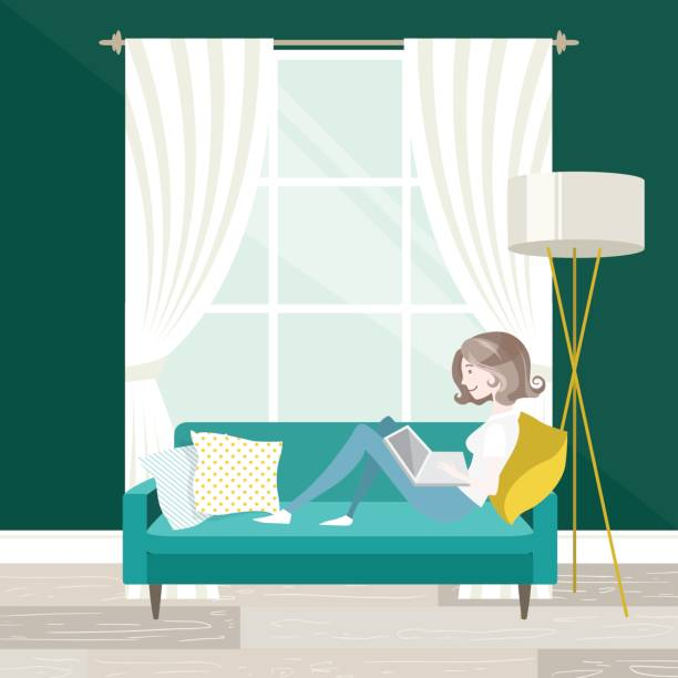 arbeiten at home  - arbeit von zu hause aus stock-grafiken, -clipart, -cartoons und -symbole