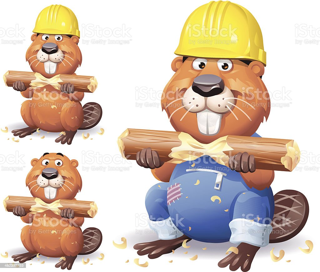 Working Beaver vector art illustration