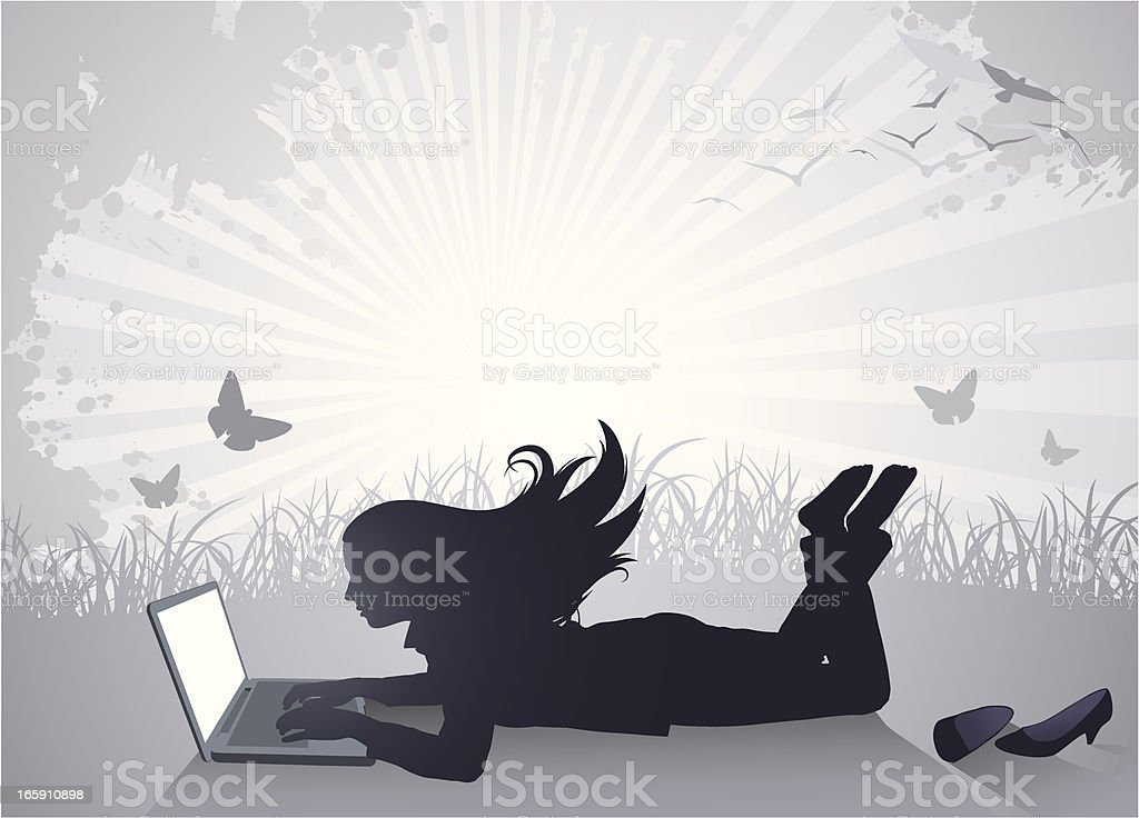 Working Businesswoman royalty-free stock vector art