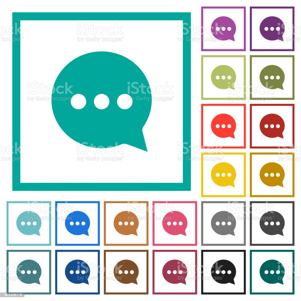 Working Chat Flat Color Icons With Quadrant Frames Stock Vector Art ...
