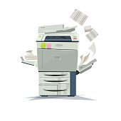 working copier printer - vector illustration