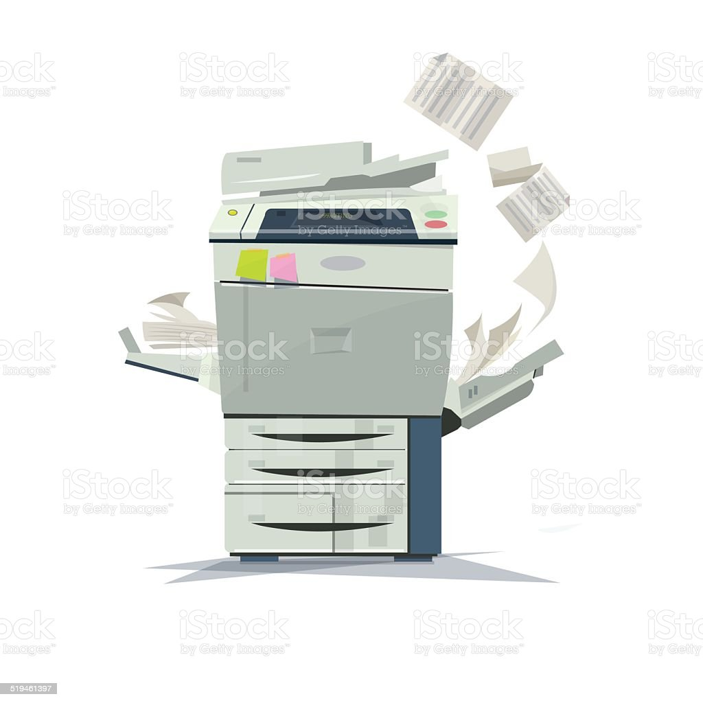 working copier printer - vector illustration vector art illustration