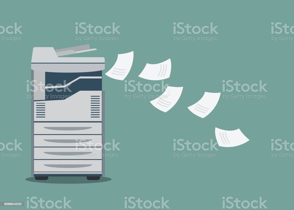 Working copier printer with paper document . vector art illustration
