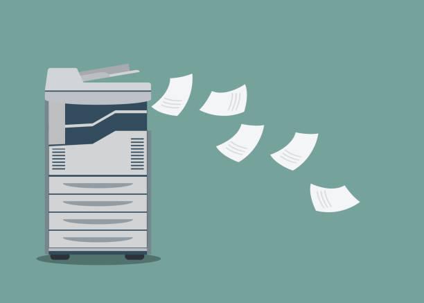 working copier printer with paper document . - kopiować stock illustrations