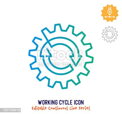 istock Working Cycle Continuous Line Editable Stroke Line 1251103419