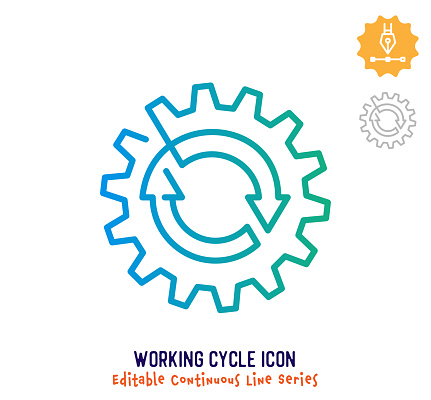 Working Cycle Continuous Line Editable Stroke Line