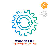 Working cycle vector icon illustration for logo, emblem or symbol use. Part of continuous one line minimalistic drawing series. Design elements with editable gradient stroke line.