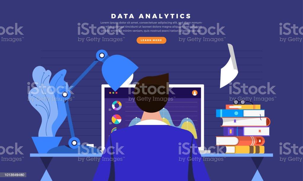 working data analysis vector art illustration