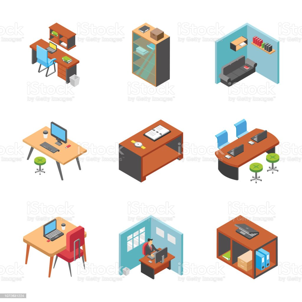 Working Desks Icons Collection vector art illustration