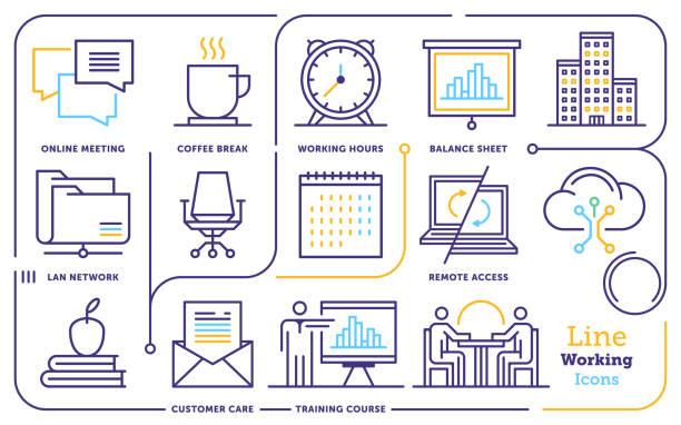 作業環境線アイコン セット - トレーニングのカレンダー点のイラスト素材/クリップアート素材/マンガ素材/アイコン素材