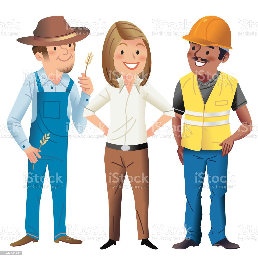Working folk vector art illustration