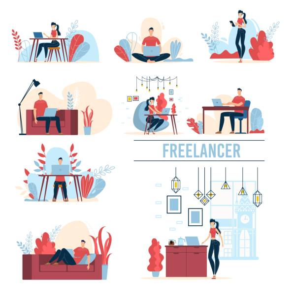 working freelancers flat vector concepts set - small business stock illustrations
