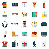 A set of icons for working from home. File is built in the CMYK color space for optimal printing. Color swatches are global so it's easy to edit and change the colors.