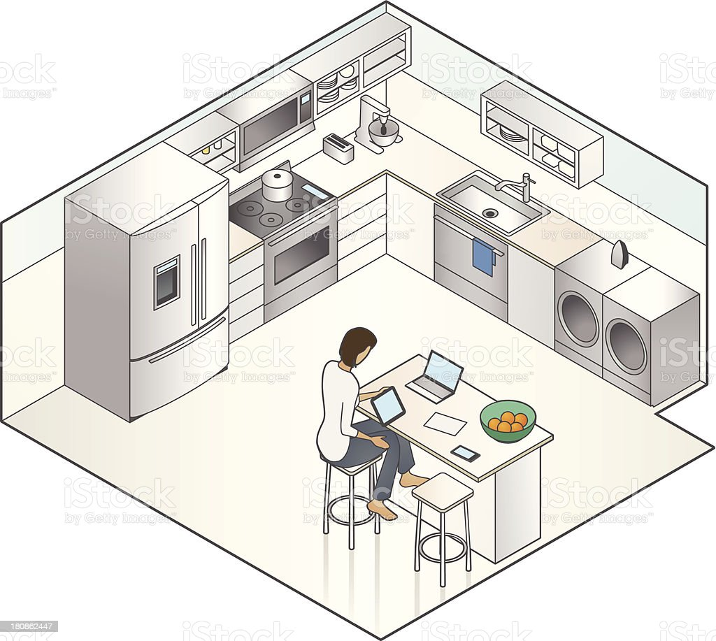Working From Home Illustration vector art illustration