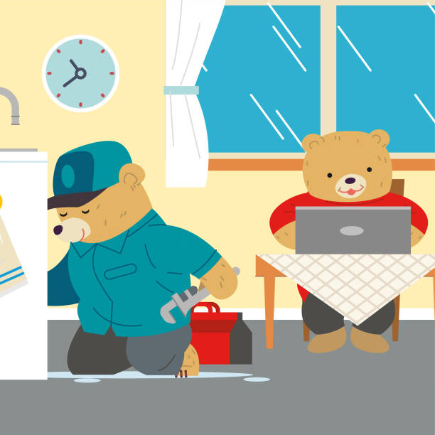 Working from Home vector art illustration