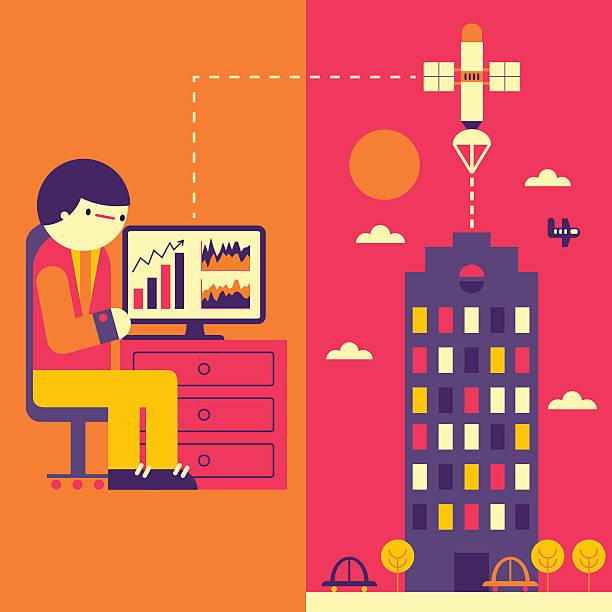 自宅勤務 - オフィス外勤務点のイラスト素材/クリップアート素材/マンガ素材/アイコン素材