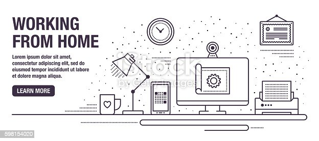 Flat line design web banners for working from home. Vector illustration.