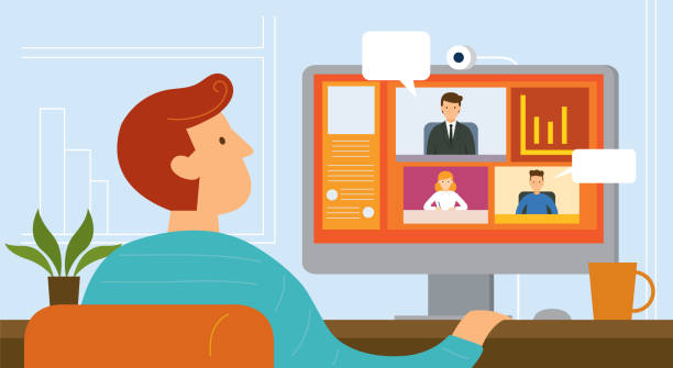 Working from Home, Video Conference Seminar, Online Meeting, Home office staff meeting stock illustrations