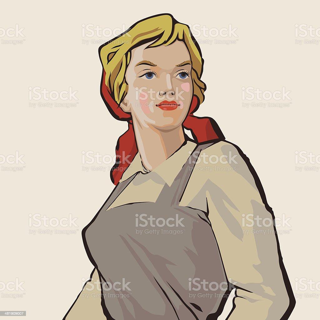 Working girl vector art illustration