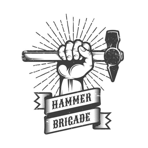 stockillustraties, clipart, cartoons en iconen met werken van grunge - hamer