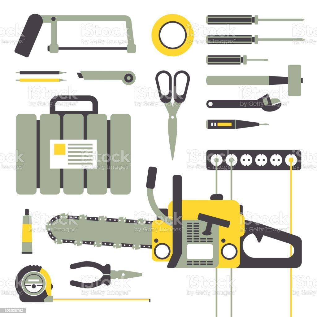Arbeiten Handwerkzeuge Für Die Reparatur Und Bau Gerätesammlung ...